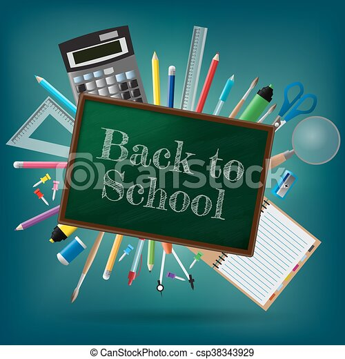 Back to school background, vector illustration - csp38343929
