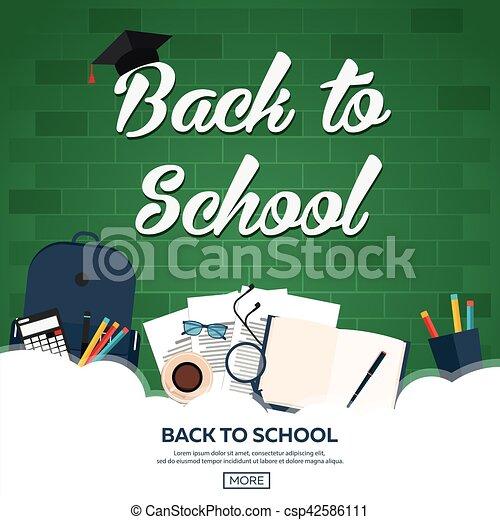 Back to school background, vector illustration. - csp42586111