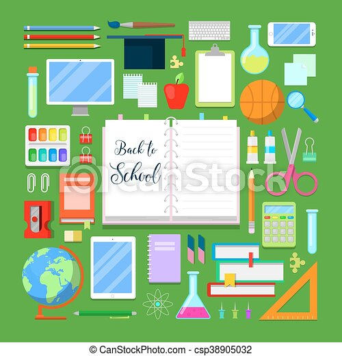 Back to School Background with Education Icon Set. Vector illustration - csp38905032