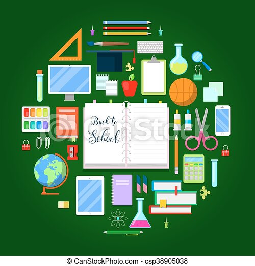 Back to School Background with Education Icon Set. Vector illustration - csp38905038
