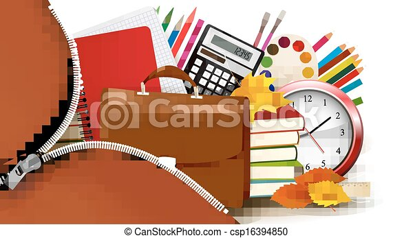 Back to school Background with school supplies and open zipper Vector - csp16394850
