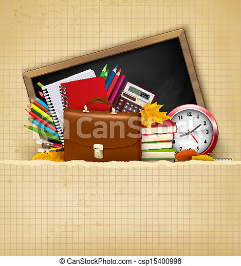 Back to school. Background with school supplies and old paper. Vector - csp15400998