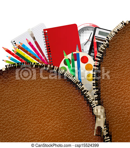 Back to school. Background with school supplies and zipper. Vector. - csp15524399