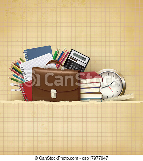 Back to school Background with school supplies and old paper Vector - csp17977947