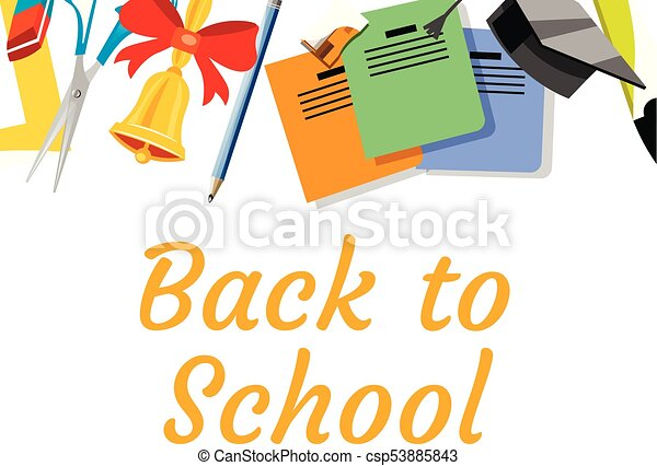 Back to school background with school supplies set - csp53885843