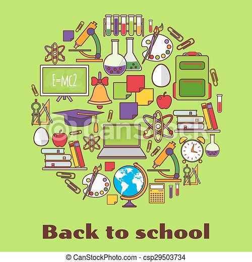 Back to school.  background with school supplies. - csp29503734
