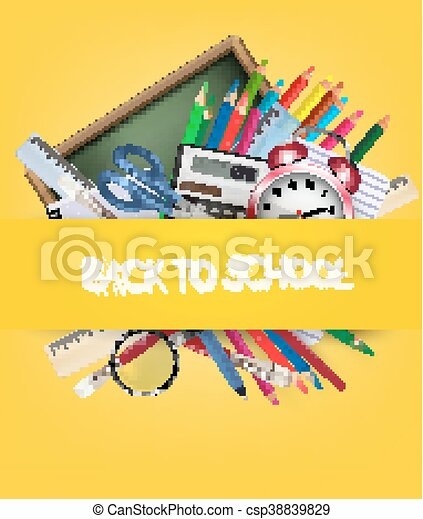Back to school. Background with school supplies. Vector - csp38839829