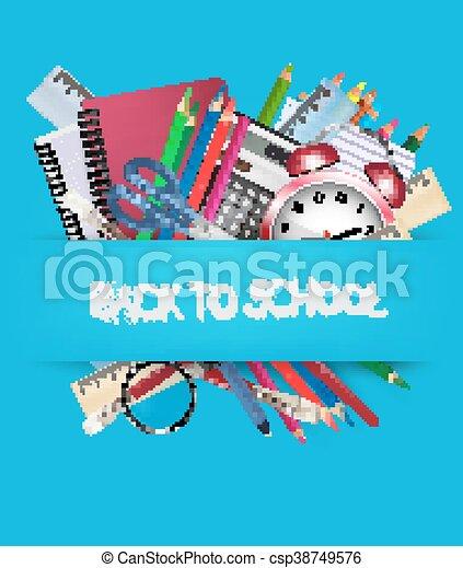 Back to school. Background with school supplies. Vector - csp38749576