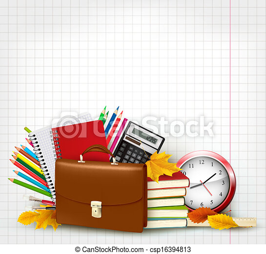 Back to school Background with school supplies and autumn leaves Vector - csp16394813