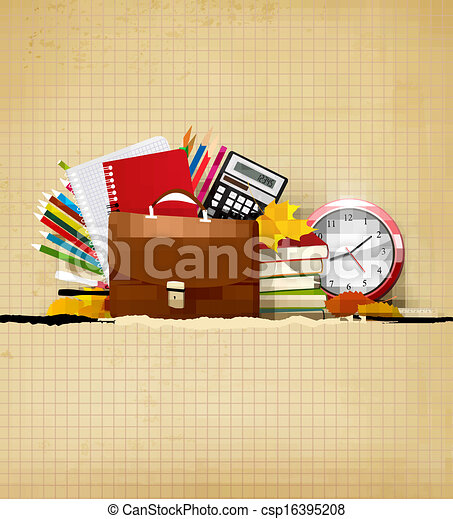 Back to school Background with school supplies and old paper Vector - csp16395208