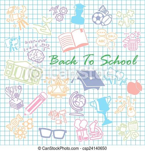 Back to School background,icon set - csp24140650