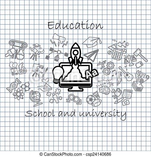 Back to School background,icon set - csp24140686