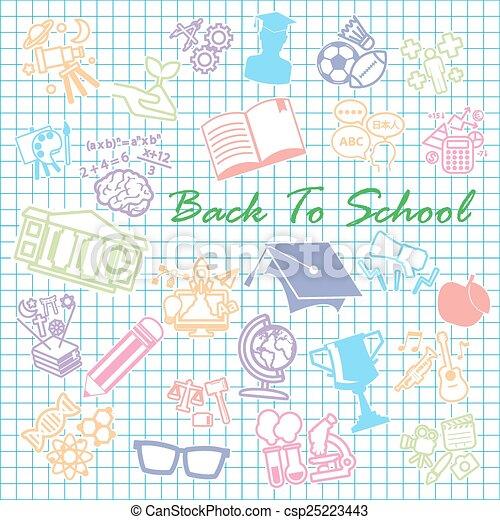 Back to School background,icon set - csp25223443