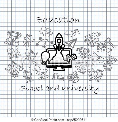Back to School background,icon set - csp25223611
