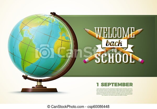 Back to school banner template, globe on a table - csp60086448