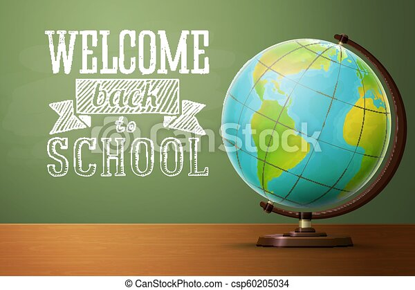 Back to school banner template, with globe - csp60205034