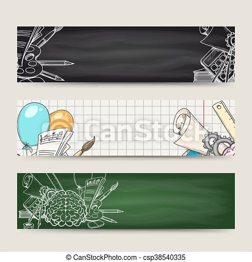 Back to school banners set - csp38540335
