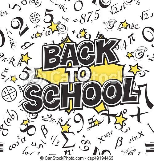 Back to school black and white illustration  Comic retro monochrome  alphabet  Halftone background and decorative elements