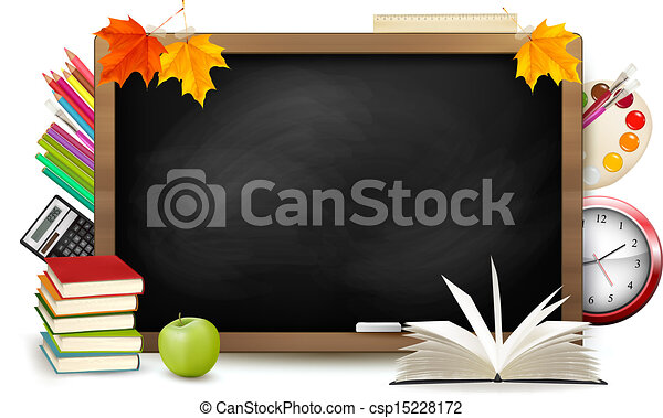 Back to school. Blackboard with school supplies. Vector. - csp15228172