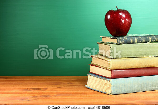 Back to School Books and Apple With Chalkboard - csp14818506