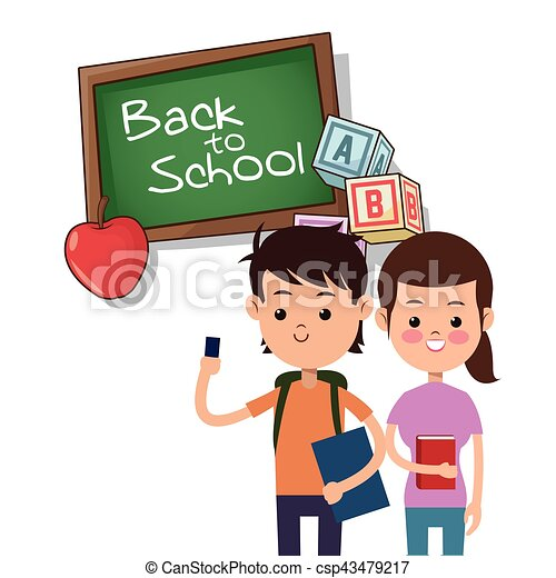 back to school boy and girl board apple alphabet cube - csp43479217