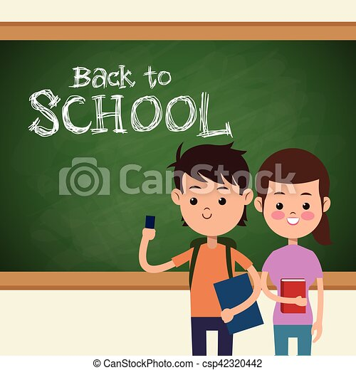 back to school boy and girl student and board - csp42320442