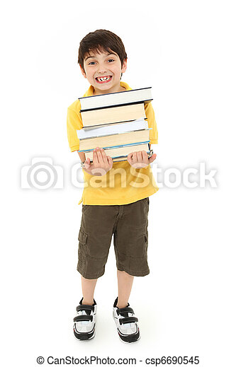 Back to School Boy Child with Text Books - csp6690545