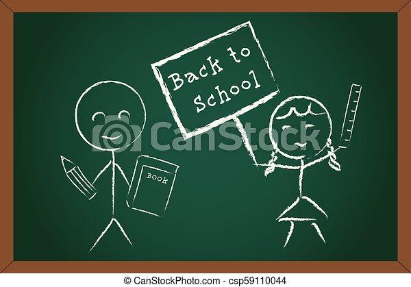 Back to School Boy Girl on Green Chalk Board - csp59110044