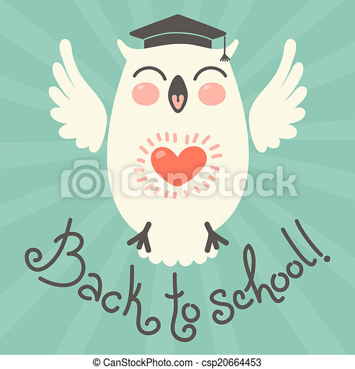 Back to school. Card with an owl. - csp20664453
