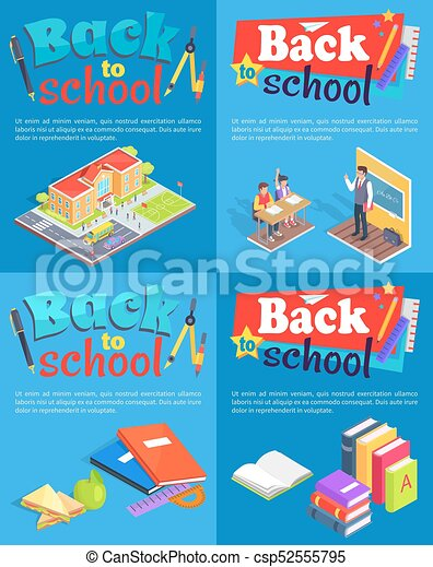 Back to School Collection of Posters with Text - csp52555795