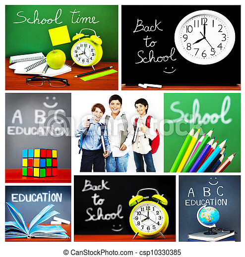 Back To School Concept Collage Collection Of Images Related To