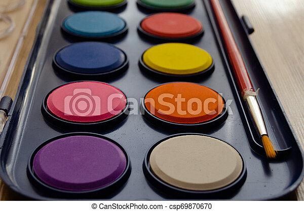 back to school concept watercolor palet - csp69870670