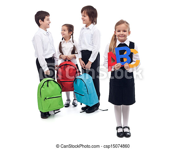 Back to school concept with a group of kids talking - csp15074860
