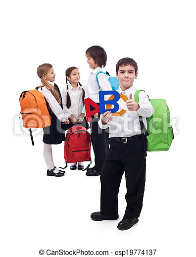 Back to school concept with a group of kids - csp19774137
