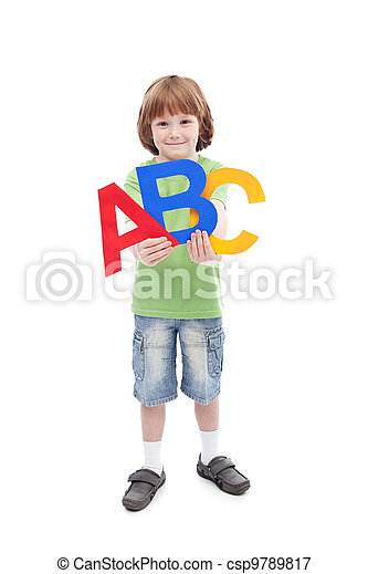 Back to school concept with child and alphabet letters - csp9789817