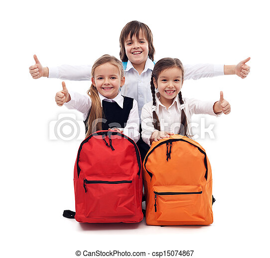 Back to school concept with happy kids - csp15074867