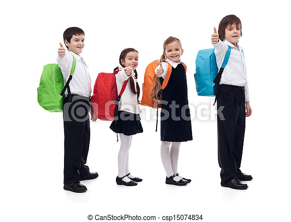 Back to school concept with happy kids giving thumbs up sign - csp15074834