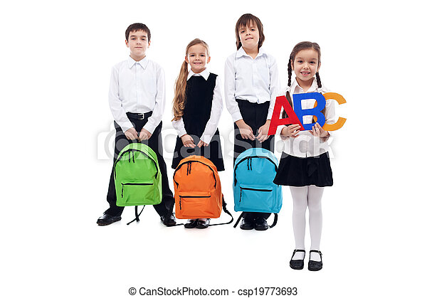 Back to school concept with kids holding schoolbags - csp19773693
