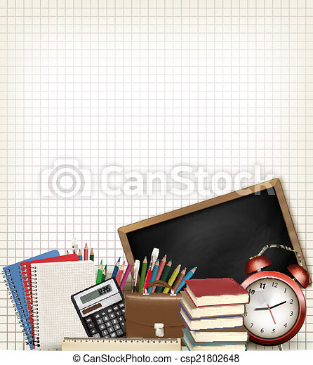 Back to school. Education background with school supplies. Vecto - csp21802648