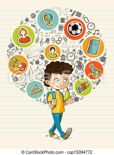 Back to school education icons colorful cartoon boy. - csp15394772