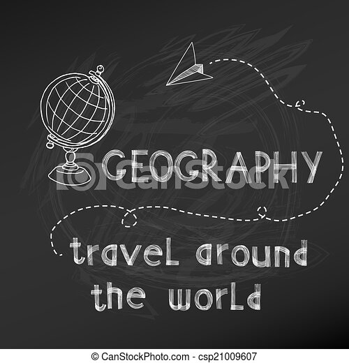 Back to School - Geography Sign on  chalk board - hand drawn- in vector - csp21009607