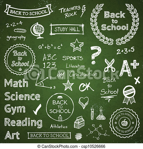 Back-to-school hand-drawn elements - csp10526666