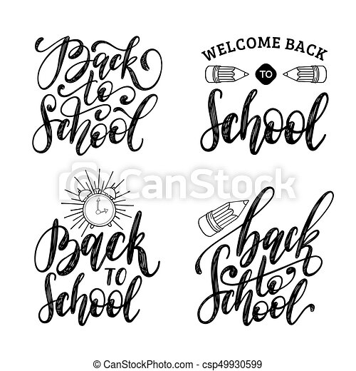 Back To School Hand Lettering Prints Set Vector Calligraphic