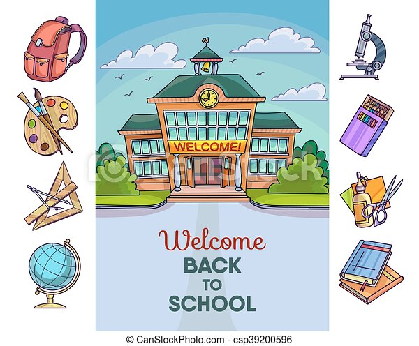 Back to school illustration. Building and supplies - csp39200596