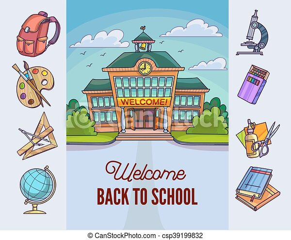 Back to school illustration. Building and supplies - csp39199832