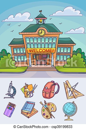 Back to school illustration. Building and supplies - csp39199833