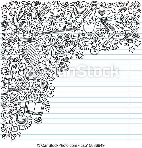 Back to School Ink Notebook Doodles - csp15836949