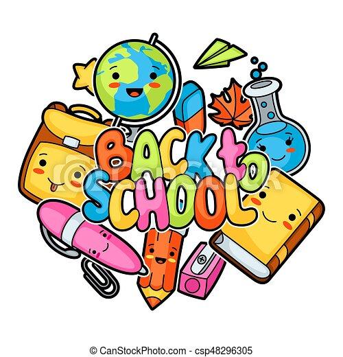 back to school kawaii design with cute education supplies rh canstockphoto com kawaii clipart free kawaii clipart black and white