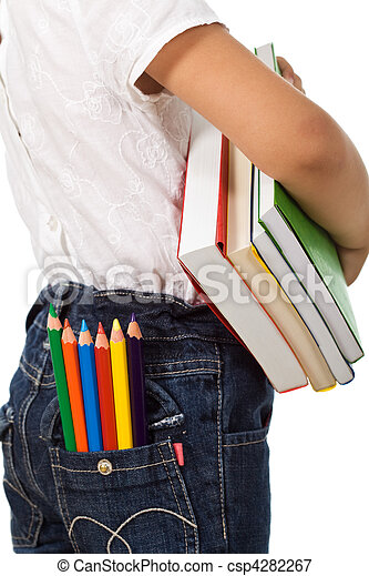 Back to school - kid with colorful books and pencils - csp4282267