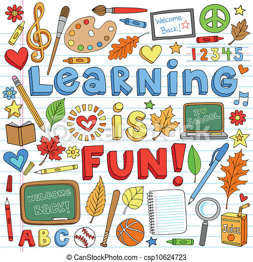 Back to School Learning Doodles Set - csp10624723